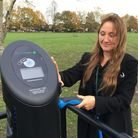 Cllr Louise Pepper, UDC portfolio holder for the Environment and Green Issues, at the charge point on Saffron Walden Common