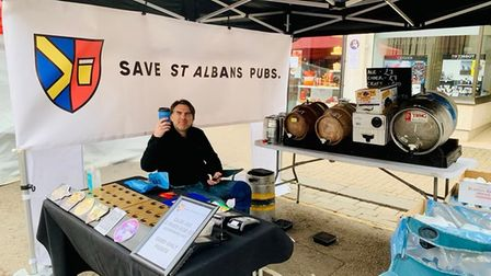 The Save St Albans Pubs market stall sellsdraft beer, ciders and ales in sealed containers under Covid-friendly...