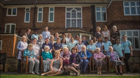 Residents and staff at the Mary Feilding Guild - including six over-100s. Picture: Sarah Lee