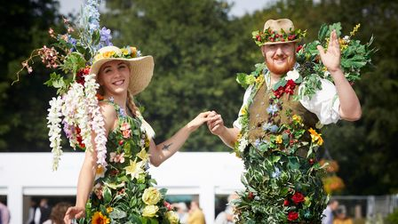 Performers on stilts at the RHS Flower Show Tatton Park 2018.