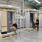 Composite rail door for Hitachi in production at TRB in Huntingdon.
