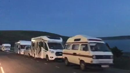 Screenshot from video showing the Esplanade in Woolacombe full of camper vans and motorhomes