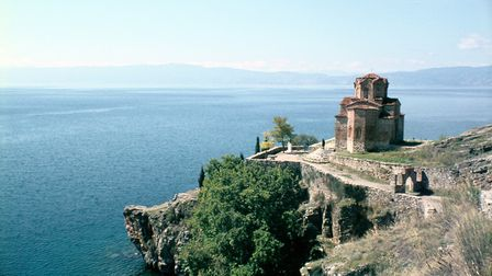 Church of St John the Divine, Kaneo, Lake Ohrid, Macedonia. Built on a bluff overlooking the lake, t