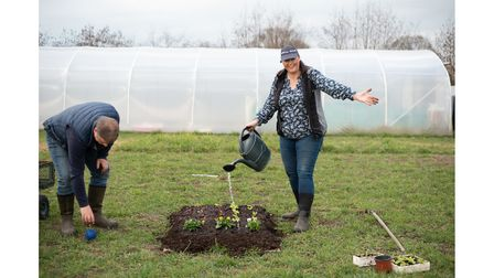 Jo Hull and Dave Carney show us how to make an easy no dig garden. Step 5- Water. Picture: SARAH L