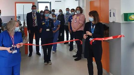 Nurse Anne Claydon BEM and Barts Health NHS Trust group chief executive Dame Alwen Williams cutting the ribbon at the new...
