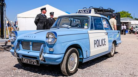 1960s Triumph Herald blue and white Police car at the Bath and West show in Somerset, UK