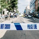 Photograph of a crime scene police line.