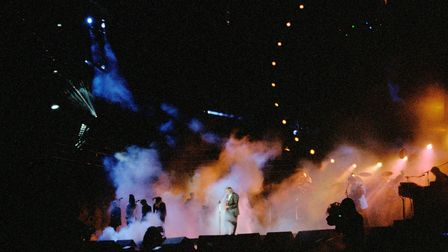 Pink Floyd on stage at the star-studded1990 Silver Clef Winners concert at Knebworth House. Their performance is being...