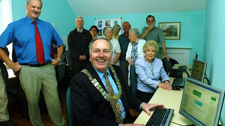 The Mayor and Mayoress of Felixstowe, Cyril and Jean Webb, opening the new IT suite at East Suffolk