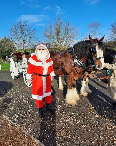 Thanks to the Waldburg shires and sponsorship from Adams, Cook and Pearce, Santa rode around Alconbury and into Alconbury...