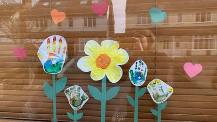 Hand print flowers by Ruben and Isaac Shah