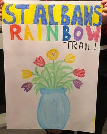Sarah Donagher drew this picture of tulips in a blue vase as part of St Albans Rainbow Trail's Mother's Day Trail