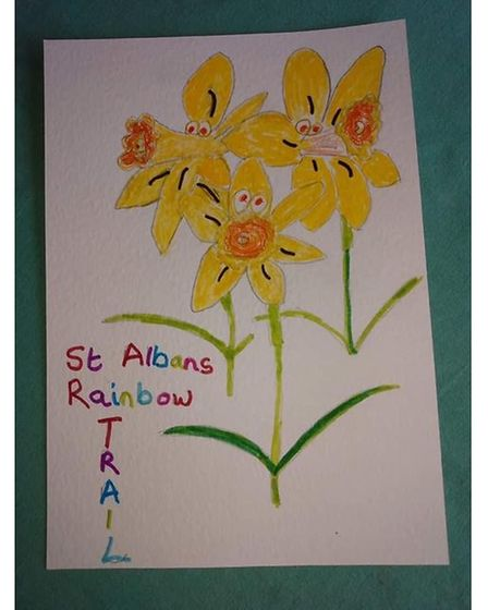 Marianne Streeter's daffodils for St Albans Rainbow Trail's Mother's Day initiative
