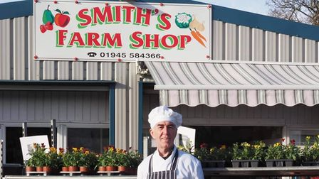 Burger boss Les at Smith's farm shop, Wisbech, which has become a popular outlet for him