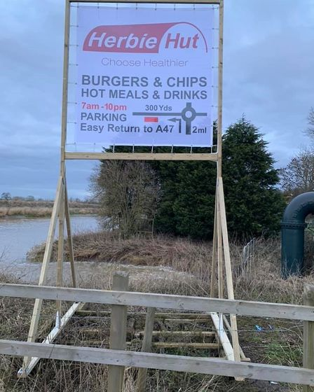Before it was destroyed, the advertising sign for Herbie Hut off the A47