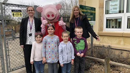 Pepa Pig joins Cheddar First School for World Book Day in March.