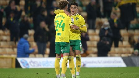 Norwich City players Max Aarons and Josh Martin