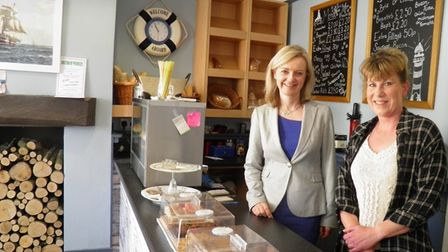 South West Norfolk MP Elizabeth Truss (left) visited the Five Bells in Upwell in 2015 as it re-open