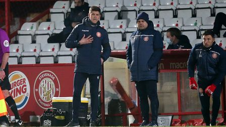 Stevenage manager Alex Revell and assistant Dean Wilkins