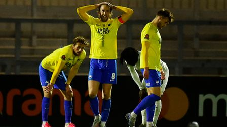 Asa Hall of Torquay United looks dejected after the National League match between Boreham Wood and T