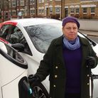 Haringey Council's Cllr Kirsten Hearn at an electric car charging point