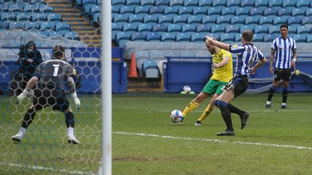 Teemu Pukki of Norwich scores his sides 1st goal during the Sky Bet Championship match at Hillsborou