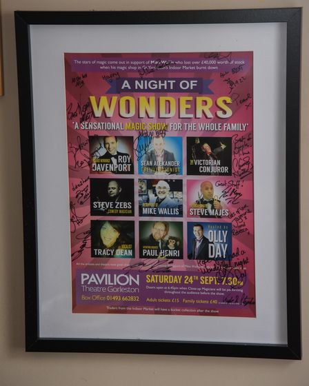 A poster up in entertainer Mike Wallis' home who will be taking his final bow on a Great Yarmouth st