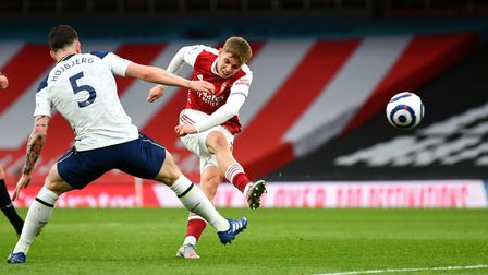 Arsenal's Emile Smith Rowe fires a shot off the crossbar against Tottenham