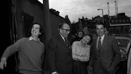 """The """"Gang of Four"""" (l-r) Bill Rodgers, Roy Jenkins,Shirley Williams andDavid Owenoutside Dr Owen's Limehouse home"""