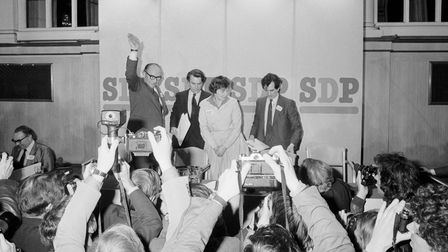 (L-R) Roy Jenkins, Nicholas Owen, Shirley Williams and Bill Rodgers face the cameras after the break