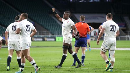 England's Maro Itoje celebrates at the final whistle after the Guinness Six Nations match at Twicken
