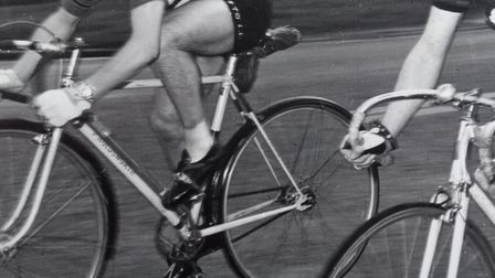 Clive Lewis catching his minuteman in an evening 10 mile time trial in Kent in 1957