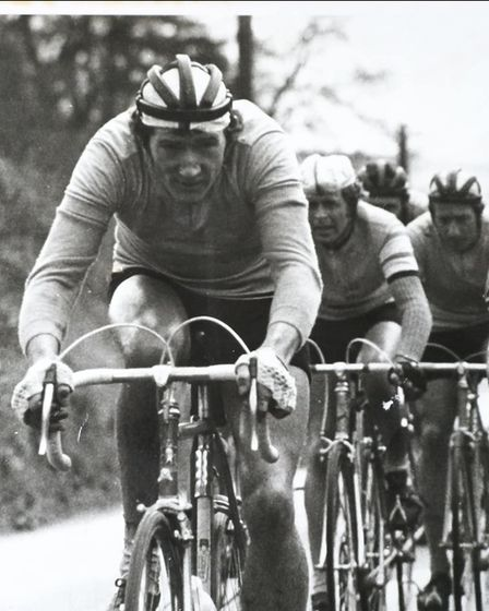 Colin Bennett leading the bunch in a circuit race round Woodbury Common in 1969