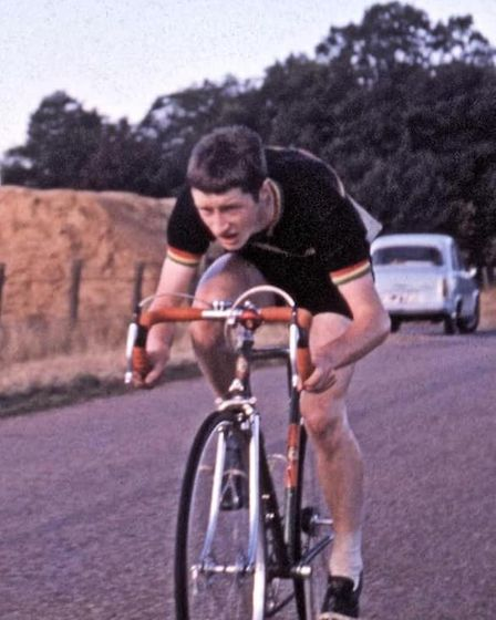 Lawrie Poole competing in a 50 mile time trial in the New Forest in 1963