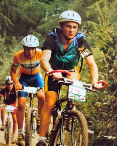 Clive Heard riding in a cross country race in Eastridge Forest Shropshire in 1993
