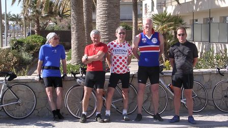 "Chris Elmore ""the gentle giant"" with friends in Porta Polenca Majorca in 1999"