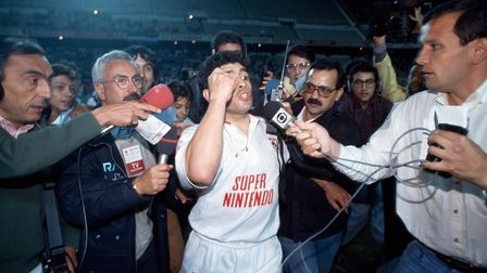 Diego Maradona playing for Seville in 1992