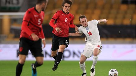 England U21's Oliver Skipp (right) and Albania U21's Redon Mihana battle for the ball during the UEF
