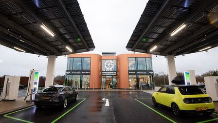 Vehicles at the new Gridserve all-electric forecourt in Braintree, Essex.