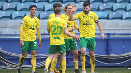 Todd Cantwell of Norwich celebrates scoring his sides 2nd goal during the Sky Bet Championship match