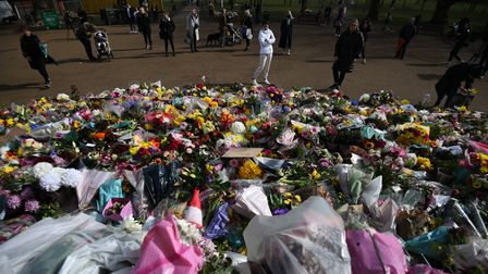 Floral tributes left at the band stand in Clapham Common, London, for murdered Sarah Everard. Servin