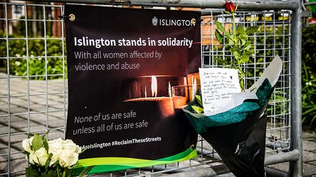 Flowers have been placed at the site, which has been set up by Islington Council to show solidarity with all women...