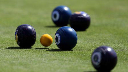 A view of bowls on a green