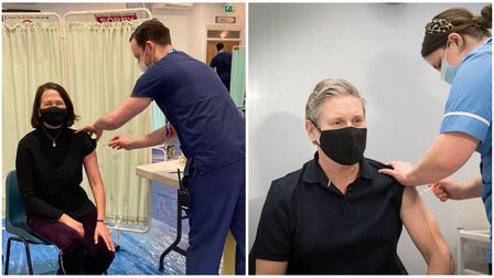 Catherine West (left) and Keir Starmer (right) being given the jab