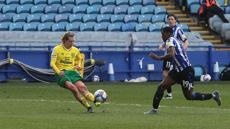 Todd Cantwell of Norwich scores his sides 2nd goal during the Sky Bet Championship match at Hillsbor