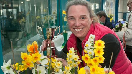 Jennifer Phillips, winner of the Frank Calcraft Trophy at Nailsea Horticultural Society's Spring Sho
