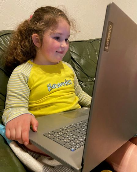 Seven-year-old St Albans Brownie Eleanor spoke to fellow Girl Scouts in St Albans, West Virginia via Zoom