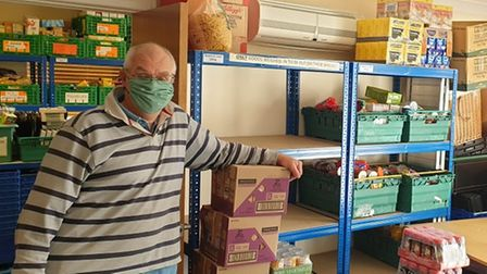 One of the volunteers in the stockroom at the St Neots depot.
