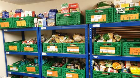 The stockroom at the St Neots Foodbank.