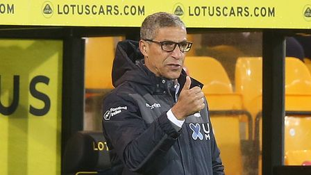 Nottingham Forest Manager Chris Hughton during the Sky Bet Championship match at Carrow Road, Norwic